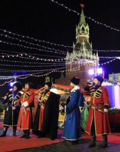 """An office party with Cossack ансамблем"""" Russian Volya"""""""